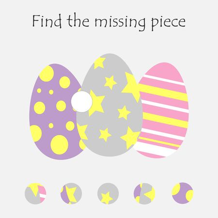 Complete the puzzle and find the missing piece, fun education easter game for children, preschool worksheet activity for kids, task for the development of logical thinking, vector