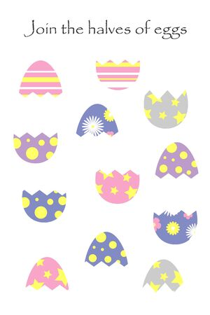 Find the second part of easter eggs in cartoon style for children, join the halves, preschool worksheet activity for kids, task for the development of logical thinking, vector Ilustração