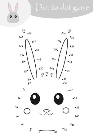 Easter bunny in cartoon style, dot to dot game, coloring page, education numbers game for the development of children, kids preschool activity, printable worksheet, vector