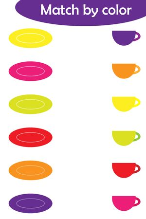Matching game for children, connect colorful plates with same color caps, preschool worksheet activity for kids, task for the development of logical thinking, vector Ilustracja