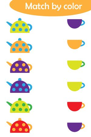 Matching game for children, connect colorful kettles with same color caps, preschool worksheet activity for kids, task for the development of logical thinking, vector