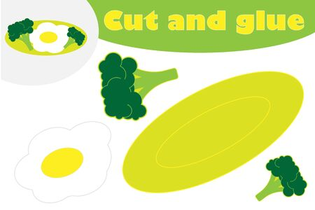 Breakfast in cartoon style, education game for the development of preschool children, use scissors and glue to create the applique, cut parts of the image and glue on the paper, vector