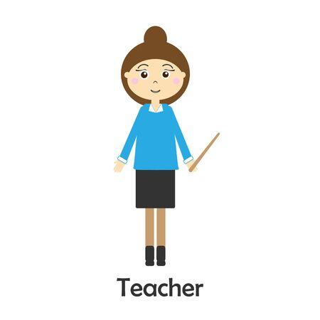 Teacher in cartoon style, school card for kid, preschool activity for children, vector