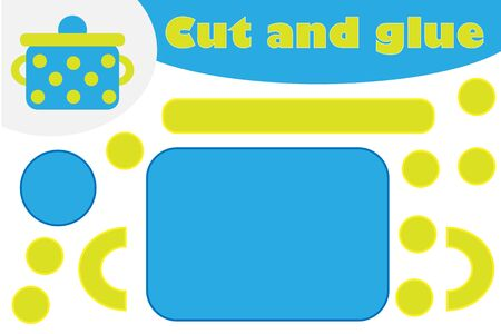 Pot in cartoon style, education game for the development of preschool children, use scissors and glue to create the applique, cut parts of the image and glue on the paper, vector Иллюстрация