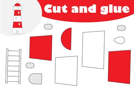 Lighthouse in cartoon style, education game for the development of preschool children, use scissors and glue to create the applique, cut parts of the image and glue on the paper, vector