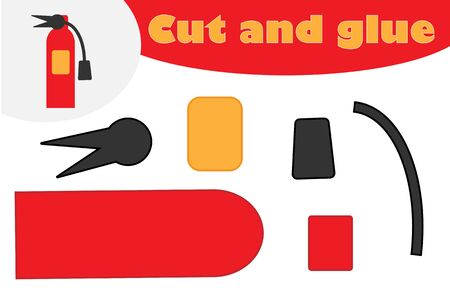 Fire extinguisher cartoon, education game for the development of preschool children, use scissors and glue to create the applique, cut parts of the image and glue on the paper, vector Иллюстрация