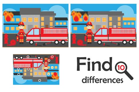 Find 10 differences, game for children, fire and fireman cartoon style, education game for kids, preschool worksheet activity, task for the development of logical thinking, vector Ilustracja