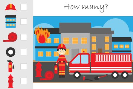 How many counting game, fire and fireman for kids, educational maths task for the development of logical thinking, preschool worksheet activity, count and write the result, vector