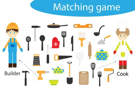 Profession matching game for children, connect things with need profession, preschool worksheet activity for kids, task for the development of logical thinking, vector