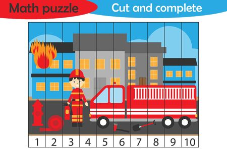 Math puzzle, fire and fireman in cartoon style, education game for development of preschool children, use scissors, cut parts of the image and complete the picture, vector Ilustracja