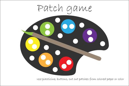 Education Patch game palette for children to develop motor skills, use plasticine patches, buttons, colored paper or color the page, kids preschool activity, printable worksheet, vector Иллюстрация