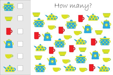 How many counting game with kitchen pictures for kids, educational maths task for the development of logical thinking, preschool worksheet activity, count and write the result, vector