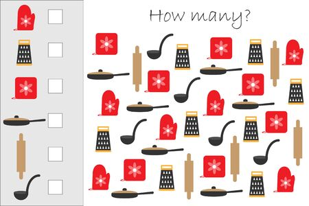 How many counting game with cooking pictures for kids, educational maths task for the development of logical thinking, preschool worksheet activity, count and write the result, vector