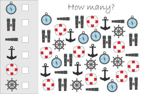 How many counting game with marine pictures for kids, educational maths task for the development of logical thinking, preschool worksheet activity, count and write the result, vector Çizim