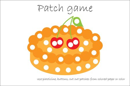 Education Patch game pie for children to develop motor skills, use plasticine patches, buttons, colored paper or color the page, kids preschool activity, printable worksheet, vector Çizim