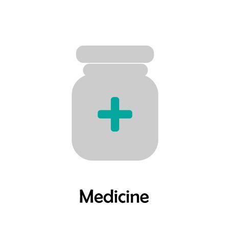 Medicine in cartoon style, medical card for kid, preschool activity for children, vector Vectores