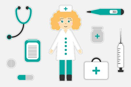 Different colorful medical pictures for children, fun education game for kids, preschool activity, set of stickers, vector
