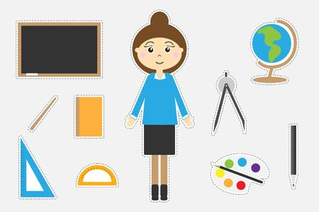 Different colorful school pictures for children, fun education game for kids, preschool activity, set of stickers, vector