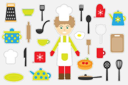 Different colorful cooking pictures for children, fun education game for kids, preschool activity, set of stickers, vector
