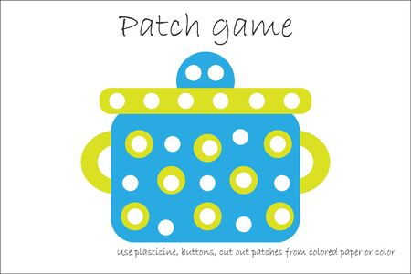 Education Patch game pot for children to develop motor skills, use plasticine patches, buttons, colored paper or color the page, kids preschool activity, printable worksheet, vector