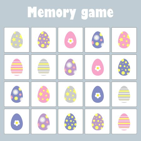 Memory game with pictures easter theme for children, fun education game for kids, preschool activity, task for the development of logical thinking, vector