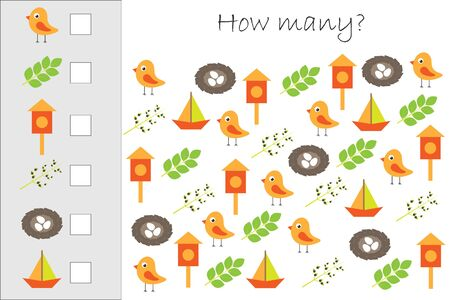 How many counting game withspring pictures for kids, educational maths task for the development of logical thinking, preschool worksheet activity, count and write the result, vector