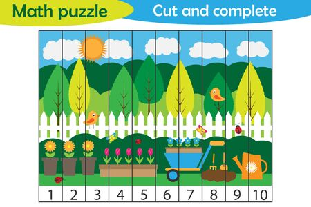 Math puzzle, spring garden picture in cartoon style, education game for development of preschool children, use scissors, cut parts of the image and complete the picture, vector