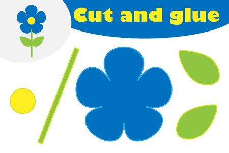 Flower in cartoon style, education game for the development of preschool children, use scissors and glue to create the applique, cut parts of the image and glue on the paper, vector