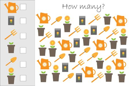 How many counting game with garden pictures for kids, educational maths task for the development of logical thinking, preschool worksheet activity, count and write the result, vector