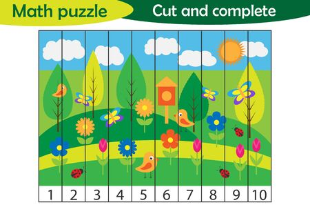 Math puzzle, spring picture in cartoon style, education game for development of preschool children, use scissors, cut parts of the image and complete the picture, vector