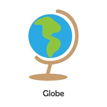 Globe in cartoon style, school card for kid, preschool activity for children, vector Иллюстрация