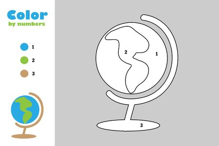 Globe in cartoon style, color by number, education paper game for the development of children, coloring page, kids preschool activity, printable worksheet, vector