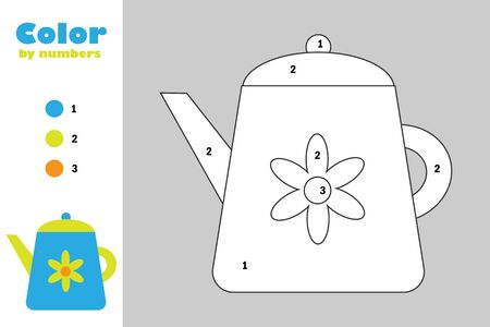 Kettle in cartoon style, color by number, education paper game for the development of children, coloring page, kids preschool activity, printable worksheet, vector