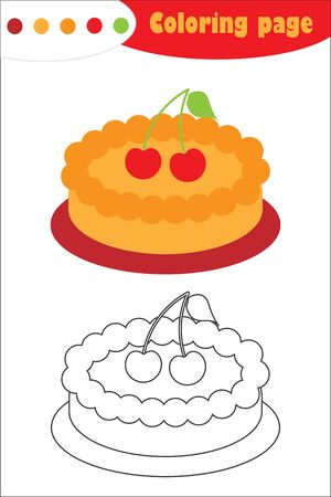Pie in cartoon style, coloring page, education paper game for the development of children, kids preschool activity, printable worksheet, vector Ilustracja