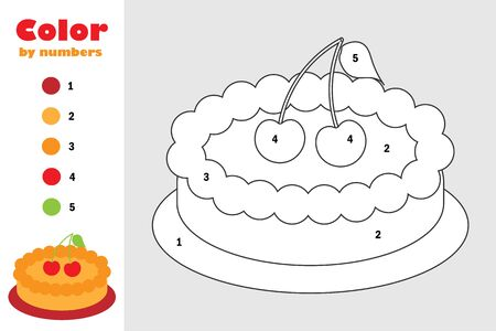 Pie in cartoon style, color by number, education paper game for the development of children, coloring page, kids preschool activity, printable worksheet, vector