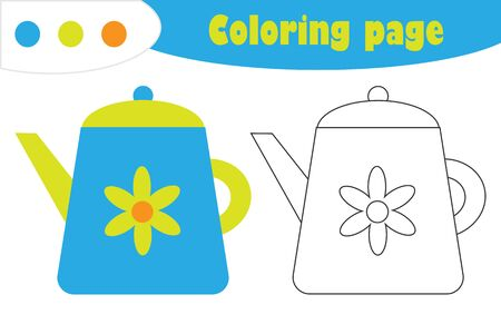 Kettle in cartoon style, coloring page, education paper game for the development of children, kids preschool activity, printable worksheet, vector