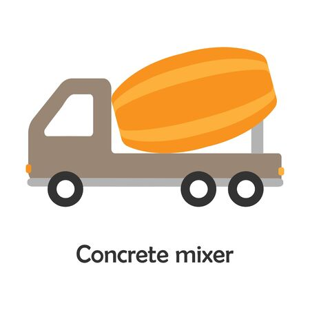 Concrete mixer in cartoon style, card with transport for kid, preschool activity for children, vector