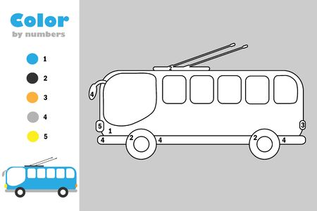Trolleybus in cartoon style, color by number, education paper game for the development of children, coloring page, kids preschool activity, printable worksheet, vector