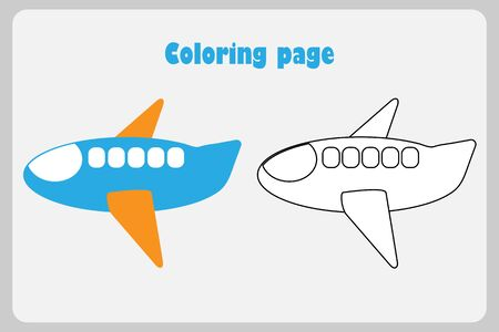 Plane in cartoon style, coloring page, education paper game for the development of children, kids preschool activity, printable worksheet, vector Иллюстрация