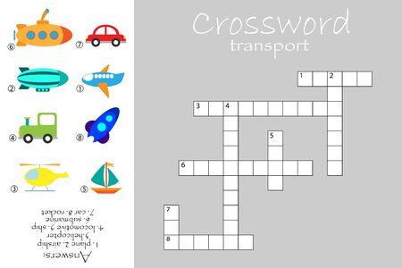 Crossword for children, transport theme, fun education game for kids, preschool worksheet activity, vector Иллюстрация