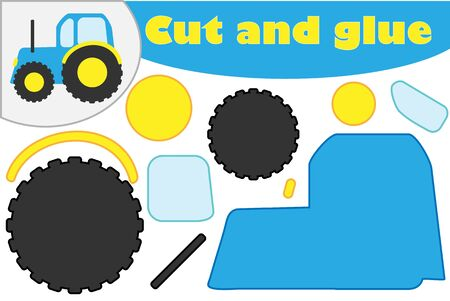 Tractor in cartoon style, education game for the development of preschool children, use scissors and glue to create the applique, cut parts of the image and glue on the paper, vector