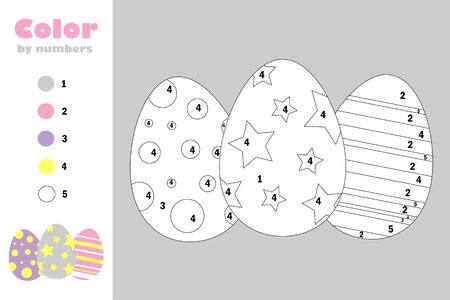 Eggs in cartoon style, color by number, easter education paper game for the development of children, coloring page, kids preschool activity, printable worksheet, vector Illustration