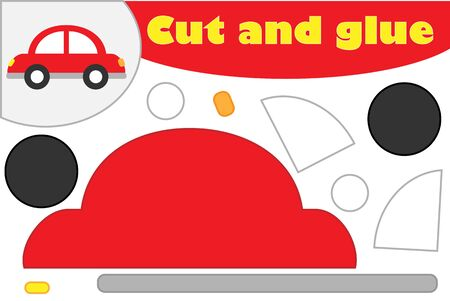 Car in cartoon style, education game for the development of preschool children, use scissors and glue to create the applique, cut parts of the image and glue on the paper, vector