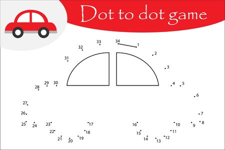 Car in cartoon style, dot to dot game, coloring page, education numbers game for the development of children, kids preschool activity, printable worksheet, vector Ilustração