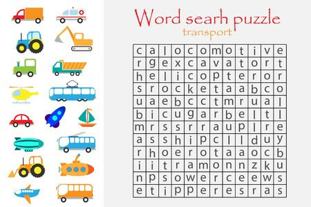 Word search puzzle for children, transport theme, fun education game for kids, preschool worksheet activity, vector Иллюстрация
