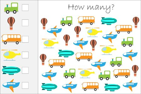 How many counting game with transport for kids, educational maths task for the development of logical thinking, preschool worksheet activity, count and write the result, vector