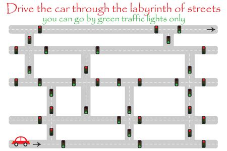 Drive car through labyrinth of streets, go by green traffic lights, fun education game for kids, preschool activity for children, maze task for the development of logical thinking, vector