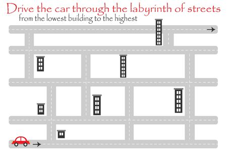 Drive car through labyrinth of streets, from the lowest building, fun education game for kids, preschool activity for children, maze task for the development of logical thinking, vector
