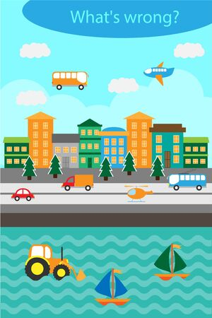 What's wrong, find mistakes with transport for children, fun education game for kids, preschool worksheet activity, task for the development of logical thinking, vector Vetores