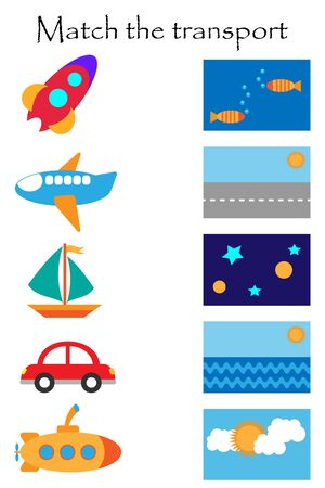 Match the transport and where it flyes and goes, fun education game with transport for children, preschool worksheet activity for kids,task for the development of logical thinking, vector Иллюстрация